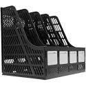 Stehsammler Zeitschriftensammler Stehorder Zeitschriftensammler Zeitschriftenbox aus Kunststoff DIN A4×4 Blau/Schwarz/Grau