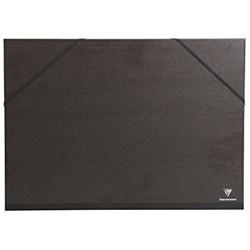 Clairefontaine 44900C Kraft Zeichenmappe (Gummizug Rücken 30 mm DIN A2+ innen: 42 x 59 4 cm außen: 47 x 62 cm ideal zur Aufbewahrung Ihrer Werke) schwarz