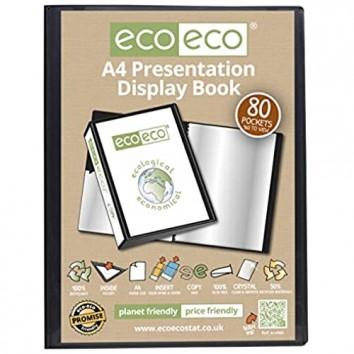 eco-eco A4 50% Recycelt 80 Taschen-Schwarz-Farbe Päsentationsdisplay Buch