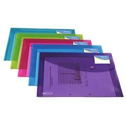Rapesco 0700 Sammelmappe mit Druckknopf und Visitenkartenhülle A4 5 Stück transparenten farben