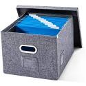 Aktenordner mit Deckel – Faltbare Aufbewahrungsbox aus Leinen mit 10 Hängemappen für Büro und Zuhause