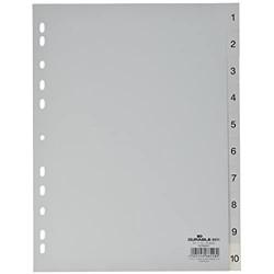Durable 6511 10 Zahlenregister - PP 1-10 A4 10 Blatt grau
