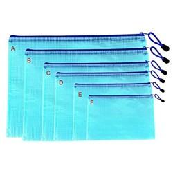 Dokumententasche 6 Stück verschiedene Größen aus PVC Reißverschluss Dokumentenmappe Schule Büro A4 A5 A6 B4 B5 B6 blau