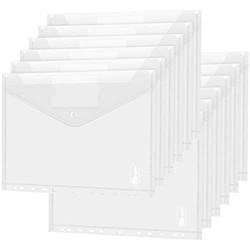 Dokumententasche A4 30 pack- Transparent Druckknopf A4 Dokumentenmappe Sammelmappen für Dokumente Organisieren mit Binderlöcher und Etikettentasche wasserdicht