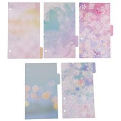 5x Tabbed Paper A6 Register Trenner Einfügbare Indexseite Karteikarten Registerkarte Trennblätter - kalte Farben