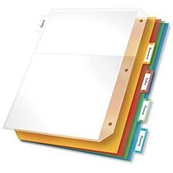 Cardinal Kunststoff-Ordner-Trennblätter Doppeltasche 5 Register einführbare Mehrfarbige Reiter Briefgröße 1 Set (84009)