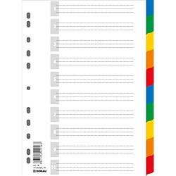 DONAU Register / Trennblätter aus Buntem stabilem Öko PP DIN A4 225x297mm Verschiedene Farben Mehrfarbig 11-fach gelocht für die Ordner-Organisation im Büro 7710095PL-99