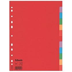 Esselte Register für A4 12 Trennblätter mit Taben Rot/Mehrfarbig Recyclingkarton 100201