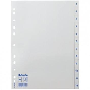 Esselte Register für A4 12 Trennblätter Taben mit Zahlenaufdruck 1-12 Blau/weiß Robuster Kunststoff 100153