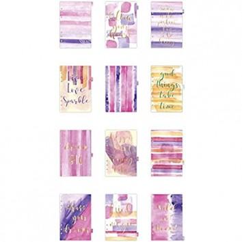 Kalendereinlagen A5 150x210 mm Lila Gold Rosa Wasserfarben 1Pck 12 Seiten