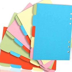 Ordnerregister INTVN 5 Kunststoff-Register farbige Hefter Kartonregister Blatt Bunte 6 Löcher Trennblätter Notizpapier Index Registerkarten 25 Blätter 5 Farben