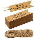 HOMETOOLS.EU® - 100 Kraftpapier Karton Geschenk-Anhänger Papier-Anhänger Tags Label 7 x 2 cm mit 10m Jute-Schnur zum Geschenk verpacken - Merry Christmas - natur braun