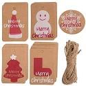 kungfu Mall 50PCS Weihnachtskraftpapier-Geschenkumbauten hängen Aufkleber mit Schnur 32Ft für Weihnachtshochzeitsfest-Versorgungsmaterialien