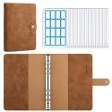 MoKo 6 Löcher Binder Notizbuch A5 PU Leder Loseblatt Notizbuch Binder Notebook mit 12 Stück Transparenten Plastik Binderumschlägen Binder Taschen Etikettenaufklebern Braun