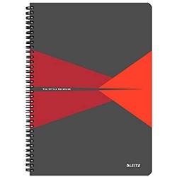 Leitz 44950025 Office Collegeblock A4 kariert spiralgebunden mit PP Einband Rot
