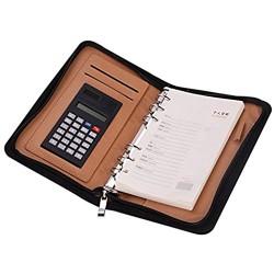 Notizbuch A5 Spiralbuch PU-Leder Tagebuch Büro Business Konferenz Schreibblock Planer Spiralbindung Notizblock Notebook Multifunktionale Schreibmappe Notizheft mit Taschenrechner und Reißverschluss