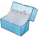 Wedo 2506303 Karteibox DIN A6 für 200 Karten aus Kunststoff Blau