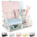AUPSEN Schreibtisch-Organizer für Damen Netzstoff Bürobedarf Schreibtischzubehör mit 5 Fächern + 1 Mini-Schublade